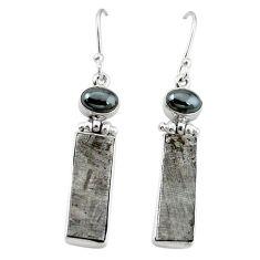 Natural grey meteorite hematite 925 sterling silver earrings k80247