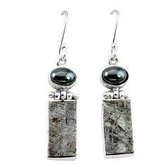 Natural grey meteorite hematite 925 sterling silver earrings k80248