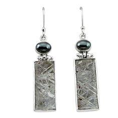 Natural grey meteorite hematite 925 sterling silver earrings jewelry k80249