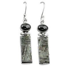 Natural grey meteorite hematite 925 sterling silver earrings jewelry k80251