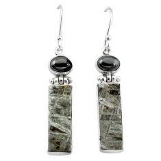 925 sterling silver natural grey meteorite hematite earrings jewelry k80252