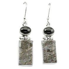 Natural grey meteorite hematite 925 sterling silver earrings jewelry k80253