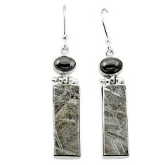 Natural grey meteorite hematite 925 sterling silver earrings jewelry k80254