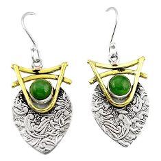 Victorian green jade 925 sterling silver two tone dangle earrings k81472