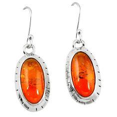 925 sterling silver orange amber oval dangle earrings jewelry k83199