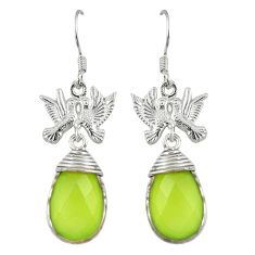 925 sterling silver natural green prehnite dangle earrings jewelry k83214