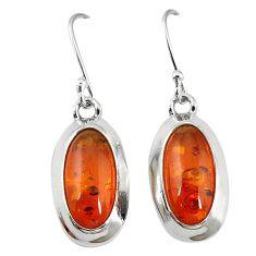 925 sterling silver orange amber oval dangle earrings jewelry k83404