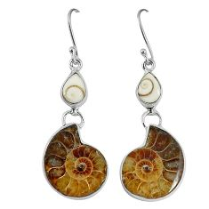 Natural brown ammonite fossil shiva eye 925 silver dangle earrings k84826