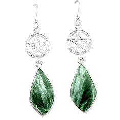 Natural green seraphinite (russian) 925 silver star of david earrings k85161