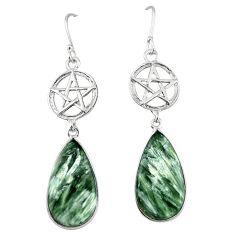 Natural green seraphinite (russian) 925 silver star of david earrings k85171