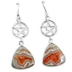 Natural mexican laguna lace agate 925 silver star of david earrings k85184