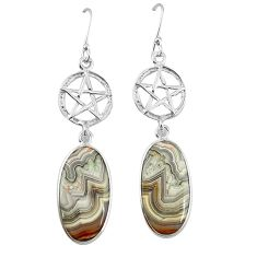 Natural mexican laguna lace agate 925 silver star of david earrings k85187