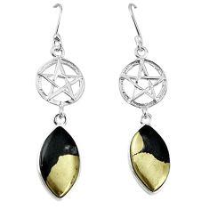 Golden pyrite in magnetite (healer's gold) 925 silver earrings jewelry k85201