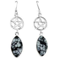 Natural black australian obsidian 925 silver star of david earrings k85232