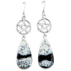 Natural white dendrite opal (merlinite) 925 silver star of david earrings k85250