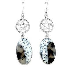 Natural white dendrite opal (merlinite) 925 silver star of david earrings k85252
