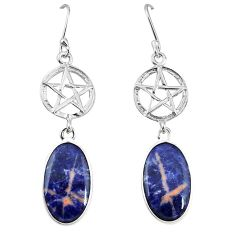 Natural orange sodalite 925 silver star of david earrings jewelry k85261