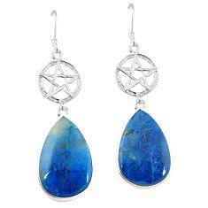 Natural blue shattuckite 925 silver star of david earrings jewelry k85342