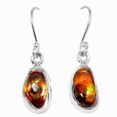 Natural multi color mexican fire agate 925 silver earrings jewelry k87424