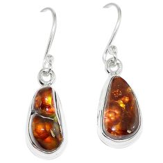Natural multi color mexican fire agate 925 sterling silver earrings k87434