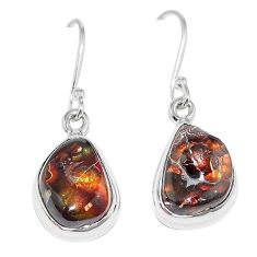 Natural multi color mexican fire agate 925 silver earrings jewelry k87438