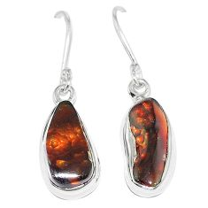 925 sterling silver natural mexican fire agate earrings k87440
