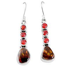 Natural mexican fire agate garnet 925 silver dangle earrings k87701