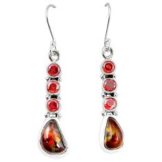 Natural mexican fire agate garnet 925 silver dangle earrings k87702