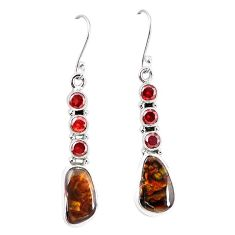 Natural mexican fire agate 925 silver dangle earrings jewelry k87703