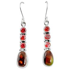 925 silver natural mexican fire agate garnet dangle earrings k87704