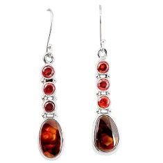 Natural mexican fire agate garnet 925 silver dangle earrings k87705