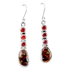 Natural mexican fire agate garnet 925 silver dangle earrings k87706