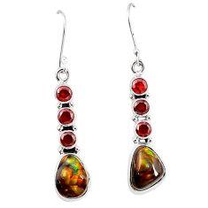 925 silver natural mexican fire agate garnet dangle earrings k87707