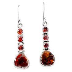 Natural mexican fire agate garnet 925 silver dangle earrings k87708