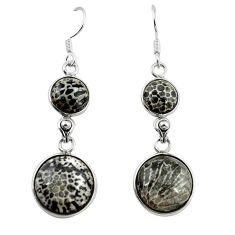 Natural black stingray coral from alaska 925 silver dangle earrings k91140