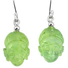 Natural green prehnite 925 sterling silver buddha charm earrings k92266
