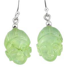 Natural green prehnite 925 sterling silver buddha charm earrings k92268