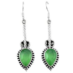 Natural green prehnite 925 sterling silver dangle earrings jewelry k92372