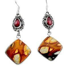 Natural brown picture jasper garnet 925 sterling silver earrings k93995