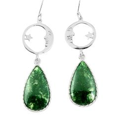 Natural green moss agate 925 silver crescent moon star earrings k94057
