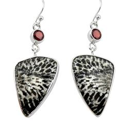 Natural black stingray coral from alaska 925 silver dangle earrings k96402