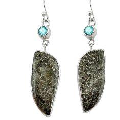 Natural black stingray coral from alaska 925 silver dangle earrings k96407