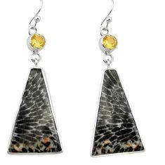 Natural black stingray coral from alaska 925 silver dangle earrings k96409