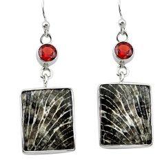 Natural black stingray coral from alaska 925 silver dangle earrings k96413