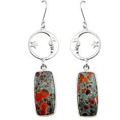 Natural red snakeskin jasper 925 silver crescent moon star earrings m1943