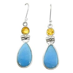 Natural blue angelite yellow citrine 925 silver dangle earrings jewelry m20282