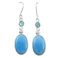 Natural blue angelite topaz 925 sterling silver dangle earrings jewelry m20283