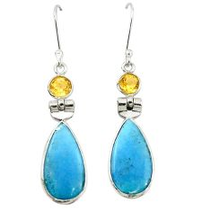 925 silver natural blue angelite citrine dangle earrings jewelry m20284