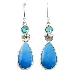Natural blue angelite topaz 925 sterling silver dangle earrings jewelry m20285