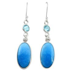 Natural blue angelite topaz 925 sterling silver dangle earrings jewelry m20286
